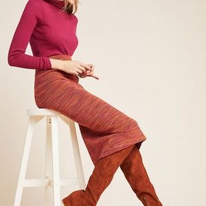 Anthro Maeve Persimmon Space-Dyed Midi Skirt